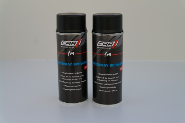 2x CAR1 CO 3600 Farb- & Lackspray 400ml - schwarz matt