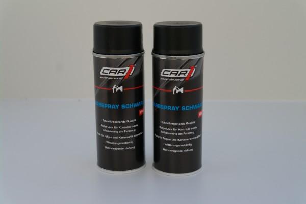 2x CAR1 CO 3600 Farb- & Lackspray 400ml - schwarz matt