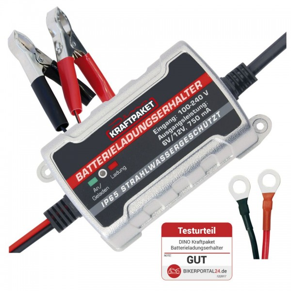 Dino KRAFTPAKET Batterieerhaltungsladegerät 6/12V-750mAh IP65 Wasserdicht
