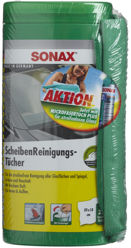 SONAX ScheibenReinigungsTücher Box mit MicrofaserTuch