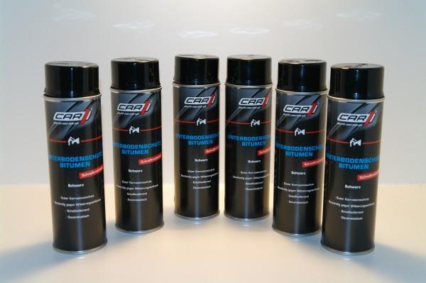 6x CAR1 CO 3612 Unterbodenschutz Bitumen 500ml Spray - schwarz
