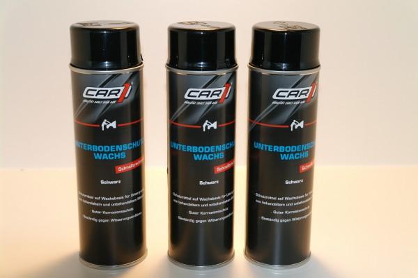 3x CAR1 CO 3608 Unterbodenschutz Wachs 500ml Spray - schwarz