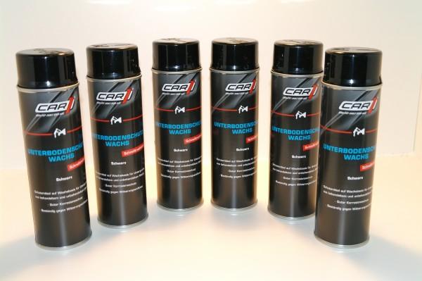 6x CAR1 CO 3608 Unterbodenschutz Wachs 500ml Spray - schwarz